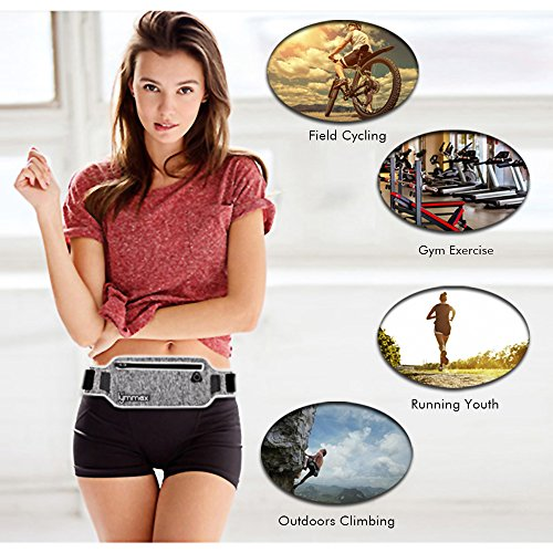 lymmax Fanny Pack 4 Pockets Running Belt Adjustable Water Resistant Waist Bag Pack for Men Women Workout Travel Running Carrying iPhone X6 7 8 Plus Samsung Note 8 Galaxy S8 S9, Large Capacity