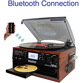 Boytone BT-22M, Bluetooth Record Player Turntable, AM/FM Radio, Cassette, CD Player, 2 built in speaker, Ability to convert Vinyl, Radio, Cassette, CD to MP3 without a computer, SD Slot, USB, AUX