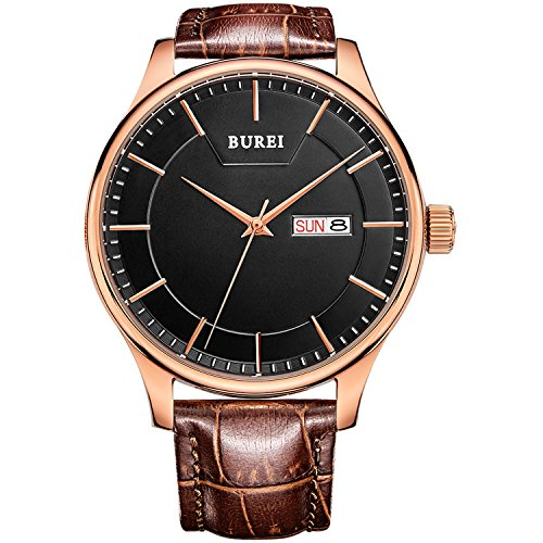 BUREI Men\'s Day and Date Brown Calfskin Leather...