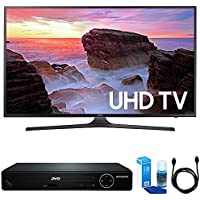 Samsung UN50MU6300 50 4K UHD Smart LED TV (2017 Model) w/ HDMI DVD Player Bundle Includes, HDMI 1080p High Definition DVD Player with USB Port, 6ft High Speed HDMI Cable and LED TV Screen Cleaner