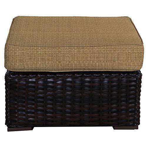 (Envelor Santa Monica Outdoor Patio Furniture Durable Wicker Rattan Ottoman Stool Foot Rest Includes Straw Linen Sunbrella Cushions)
