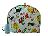 Indian Cotton Printed Tea Cozy Abstract TeaPot Décor Cover Traditional Tea Quilt Warmer Home Decorative Tea Cozies Insulated Gift Ethnic Animal Printed White Tea cozy For Teapot