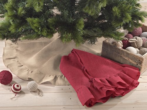 Fennco Styles Holiday Décor Ruffle Trim Jute Burlap Xmas Tree Skirt, 53-inch Round (Natural)