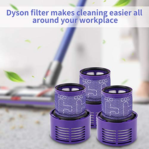 morpilt 3 Pack Replacement Part V10 Filters Suit for Dyson V10 Cyclone series, V10 Absolute, V10 Animal, V10 Total Clean, SV12, Replace Dyson part # 969082-01