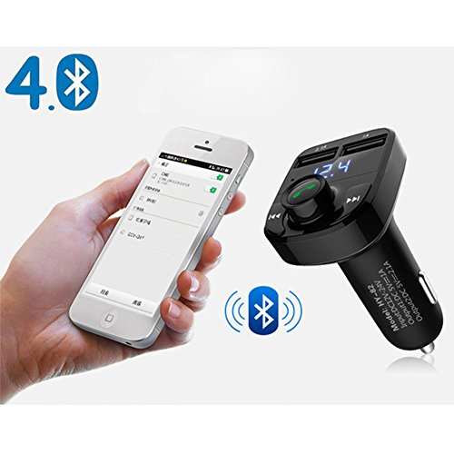 FM Transmitter Wireless Bluetooth FM Transmitter Car Kit Radio Adapter Receiver 4.2A USB Car Charger MP3 Music Player Read Micro SD Card USB Flash Drive and Battery Voltage by JINSERTA (Image #7)