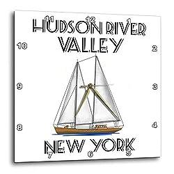 3dRose Macdonald Creative Studios – Nautical - Sailing Hudson River Valley New York Nautical Sailboat Design. - 13x13 Wall Clock (DPP_299226_2)