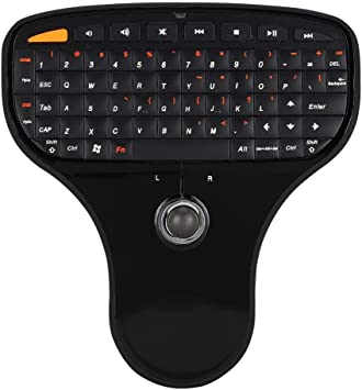 Teclado USB MultiMedia, teclado inalámbrico 2.4G para mouse Equipado con un teclado QWERTY completo y Trackball para Windows Control multimedia y ...
