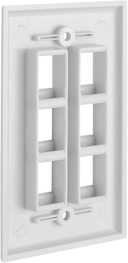 4 Port Keystone Wall Plate Single-Gang Wall Plate with Standard Size Keystone Jack Insert CMPLE White