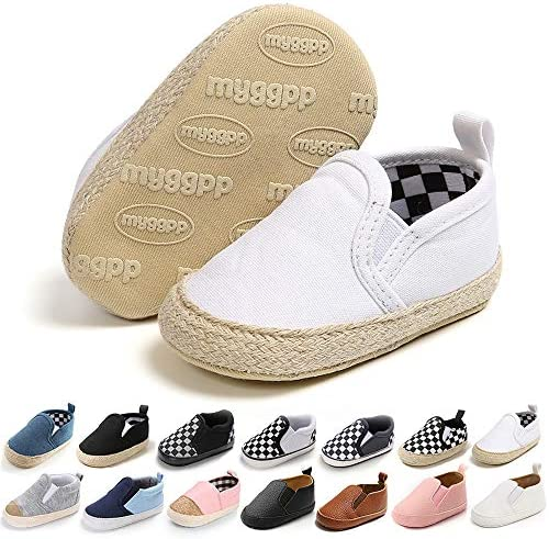 Meckior Infant Baby Girls Boys Canvas Shoes Soft Sole Toddler Slip On Newborn Crib Moccasins Casual Sneaker Austin Boy's Flat Lazy Loafers First Walkers Skate Shoe