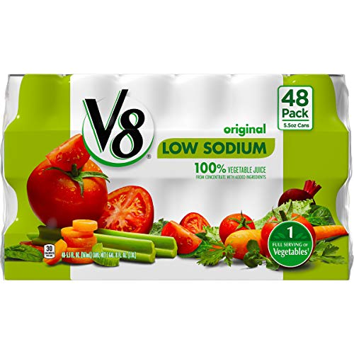 V8 Original Low Sodium 100% Vegetable Juice, 5.5 Ounce, 48 Count