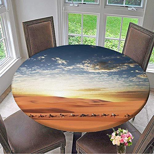 Mikihome Elasticized Table Cover Caravan in Sahara Desert Machine Washable 55