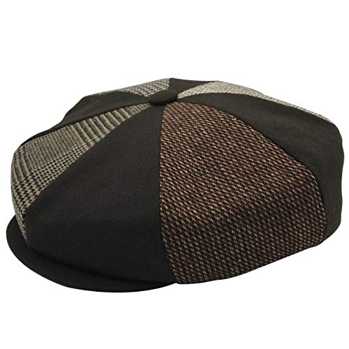 Emstate Patch Combo Plaid Mens Wool 8 Panel Applejack Baker Boy Newsboy Cap Made in USA