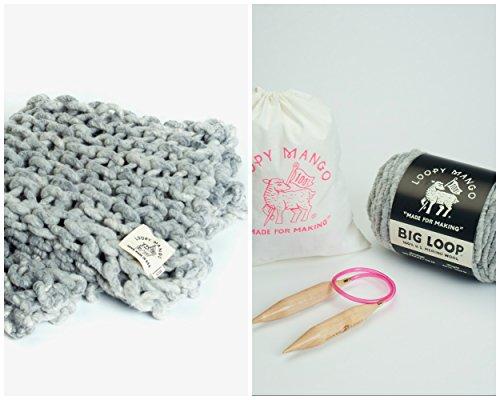 Loopy Mango DIY Knit Kit Montauk Throw 30'' x 50'' (76cm x 127cm) (Pretty In Pink) by Loopy Mango