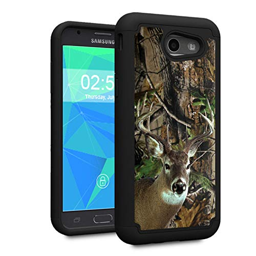 Galaxy J3 2017 case,J3 Prime/J3 Emerge/Sol 2/J3 Eclipse/J3 Mission Case,Spsun Dual Layer Hybrid Hard Protector Cover Anti-Drop TPU Bumper for Samsung Galaxy J3 2017,Deer Hunting Camo