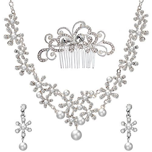 ANBALA Bridal Wedding Hair Comb, Crystal Rhinestones Pearls Women Wedding Hair Comb with 1 Set Wedding Necklace Earrings Decoration Headpiece Jewelry Set for Brides, Style (Pageant Set)
