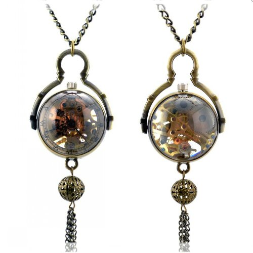 Vantasy Glasses Dia Window Vintage Unique Mechanical Skeleton Pendant Necklace Pocket Watch Bronze Hand Wind