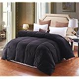 Lightweight Luxury Goose Down Alternative Comforter - Hypoallergenic - Solid (Queen, Black)