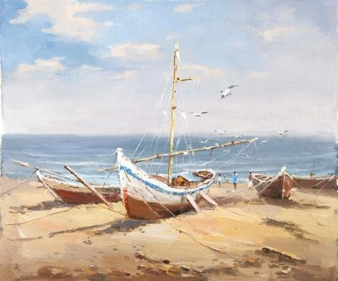 'Beach Scenic With Boats And Sea Gulls'  - Asian Saddle Bench Shopping Results