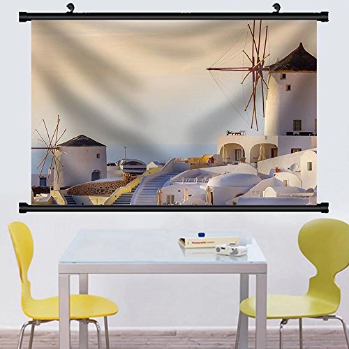 Gzhihine Wall Scroll Famous view of Oia village at the sland Santorini Greece sunset rays Fabric Wall Home Decor - West At Village Legends