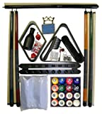 Black Finish Billiard Pool Table Accessory Kit W Classic Marble Ball Set