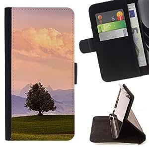 For Apple iPhone 5C Case , Minimalista del paisaje del verano naturaleza Cielo- la tarjeta de Crédito Slots PU Funda de cuero Monedero caso cubierta de piel