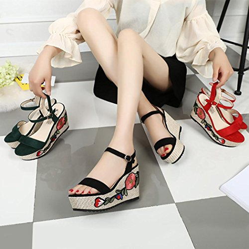 High Vintage Shoes Shoes Embroidery Womans Shoes Super Fashion Girls Heel Floral Wedges Black Janly® Sandals Rome Summer 1PwTgt