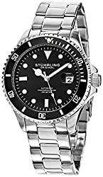 "Stuhrling Men's Watch HN792.01 Speacialty Automatic Sport ""Aquadiver Regatta"" Date Stainless Steel Link Bracelet Black Dial Diver Watch"