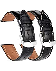 Watch Bands 18mm 19mm 20mm 21mm 22mm - Quick Release - Leather Watch Straps - Alligator Pattern - Stainless Steel Pin Buckle - 2 Packs - Black Brown