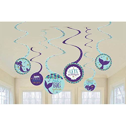 Amscan Mermaid Wishes Hanging Spiral Party Decorations