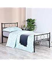 Aingoo Metal Bed Frame with Headfoot for Adults Kids Children Black