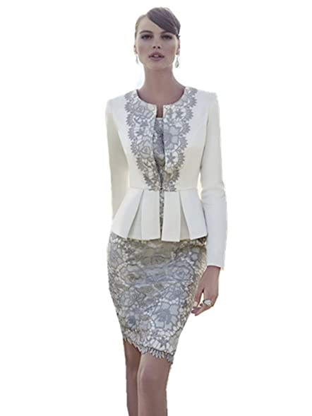 dressvip Ivory Lace Mother of The Bride Dress and Jacket: Amazon ...