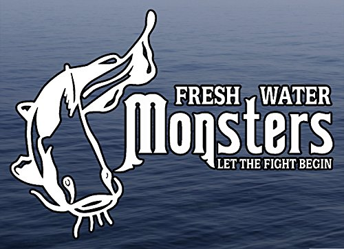 M22 Fresh Water Monsters - Let The Fight Begin Catfish Fishing Fresh Water Background Full Color Window Decal Sticker