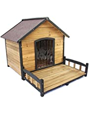 PETJOINT XL Extra Large Dog Kennel + Veranda | Wooden Pet Puppy House Timber Home Indoor Outdoor