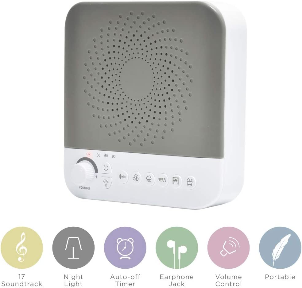 White Noise Machine for Sleeping with Nightlight, Earphone Jack, Volume Control, Timer Setting, 17 Soundtracks, for Study,Home or Office