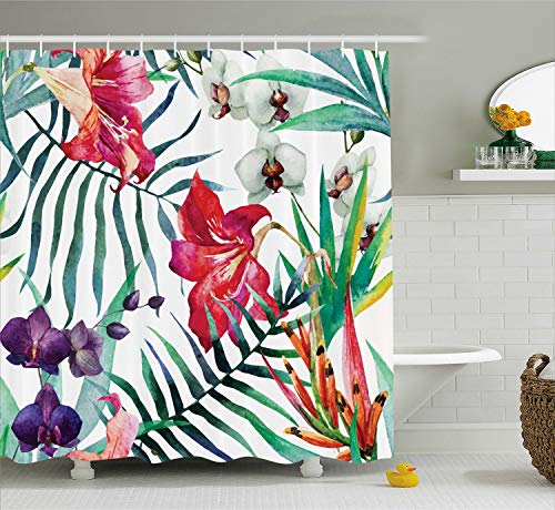 Orchid Tropical Print - Ambesonne Watercolor Flower Decor Shower Curtain Set, Tropical Wild Orchid Flowers with Palm Leaves Print Exotic Style Nature Artwork, Bathroom Accessories, 84 Inches Extralong, Green Red