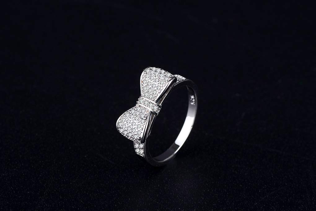 FENDINA 18k White Gold Plated White Cubic Zirconia CZ Band Bow Ring Fashion Women Jewelry, Gifts for Graduation by FENDINA (Image #3)