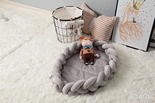 LOAOL Baby Crib Nest Bed Newborn Lounger Sleeper Knotted Braided Infant Nursery Decor Cradle Bumper (Gray, 17.7