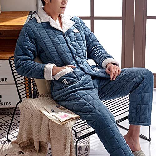 Vestibilità Due Righe Blu Uomo Trapuntata A colore Da Pezzi Tien La Con L Liruipengsy Comoda Scuro Strati Tre Mantieni Gwdj Pieghe Casual Dimensioni Tuta Pigiama Scuro wRpAHv