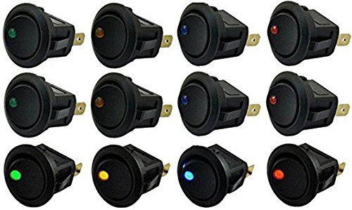 Off Switch - yueton 12pcs Car Truck Rocker Round Toggle LED Switch On-Off Control, Blue, Green, Yellow, Red