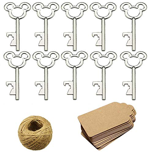 (50Pcs Vintage Skeleton Key Bottle Openers with 50pcs Escort Card Tag and Twine for Wedding Party Favors Rustic Decoration,)