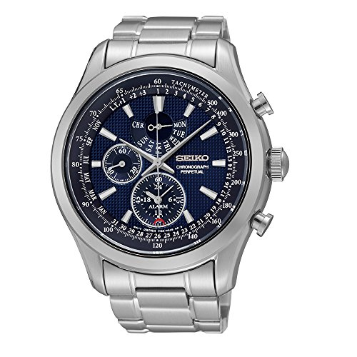 Seiko Alarm Watch (Seiko SPC125P1 Neo Classic Alarm Perpetual Blue Dial Stainless Steel Mens Watch)