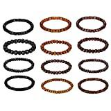 Flongo Mens Womens Unisex 12PCS Bracelet Set, Wooden Bead Mantra Buddhist Link Wrist Bracelet Elastic
