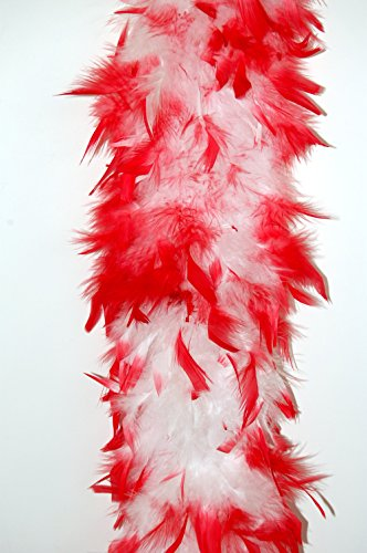 (80 Gram Chandelle Feather Boa 2 Yards - WHITE w/ RED Tips)