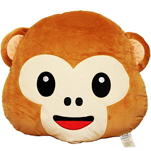 EvZ 32cm Emoji Smiley Emoticon Brown Round Cushion Stuffed Plush Soft Pillow