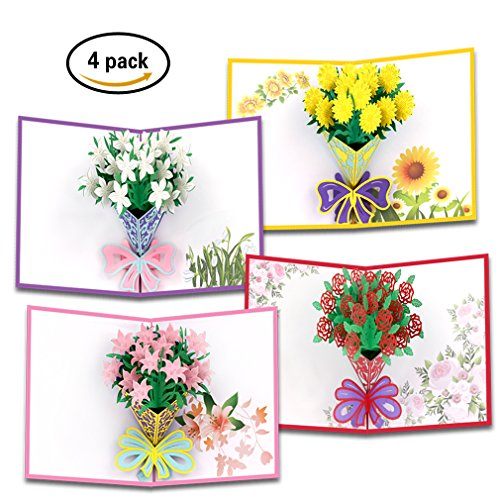 Flower Pop Up Cards   3D Greeting Cards for All Occasions   Elegant Greeting Cards for Holidays   6 x 8 inches, Envelope Included   Birthday Gift Cards   Anniversary Bouquets Greeting (Holiday Greeting Envelope)