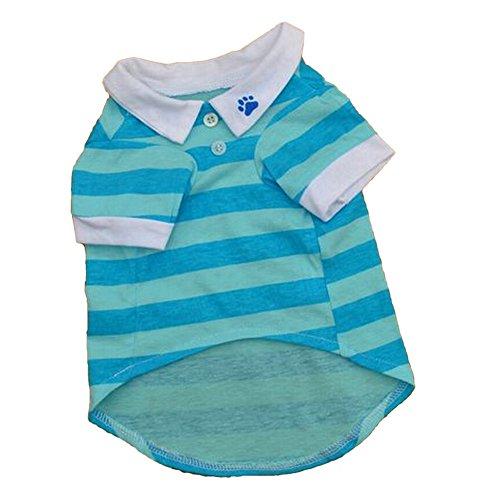 VLUNT Pet Puppy Small Dog Cat Stripe Vest Polo T-Shirt Apparel Ventilate Clothes
