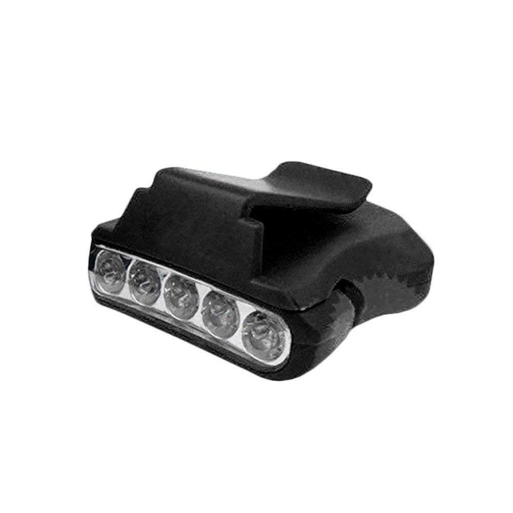5 LED Cap Hat Brim Clip Lamp Headlamp Head Light Hat Lamp Flashlight Adjustable Zoomable Headlamp Power by 2 x CR2032 Button Batteries for Camping Hiking Working