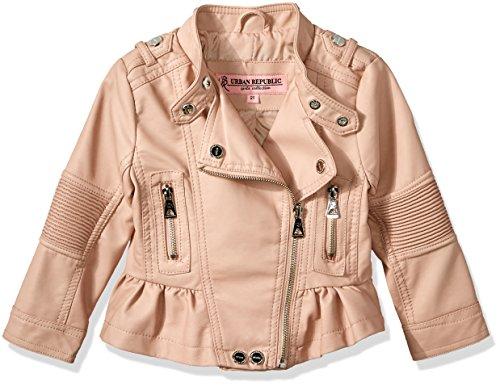 Urban Republic Little Girls Faux Pu Jacket, Rose Smoke/Pink, 4