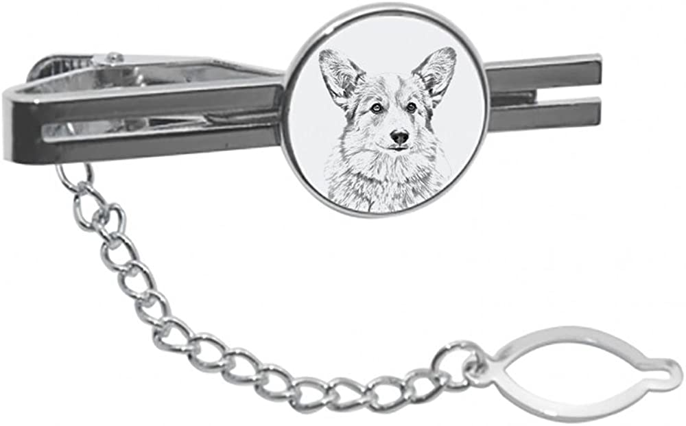 Welsh Corgi, tie pin, Clip with an Image of a Dog, Elegant and Casual Style