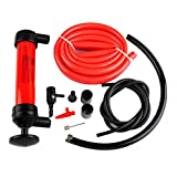 Podoy Fuel Transfer Siphon Pump Kit for Oil Gas/Gasoline and Liquids,Manual Plastic Sucker Pump with Two 51 inch Hoses